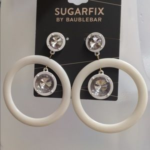 Baublebar circular earrings with white rhinestones